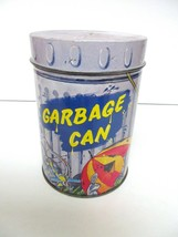 """CASE MANUFACTURING GARBAGE CAN TIN ENGLAND CANISTER 6 6/16"""" T X4 6"""" VINTAGE - $19.78"""