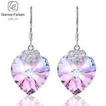 Swarovski Crystal Women Earrings Amethyst Heart Drop Earring Fine Jewelr... - $21.90