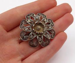 925 Sterling Silver - Vintage Swirl Filigree Single Flower Brooch Pin - ... - $33.22