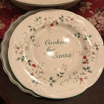 """Pfaltzgraff China Winterberry Pattern Cookie Plate 9"""" 'cookies For Santa' - $18.00"""