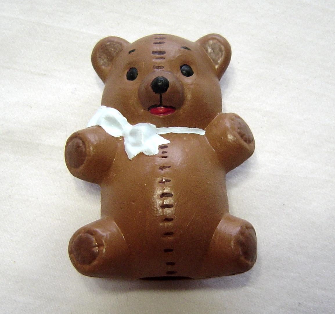 Primary image for  Miniature Teddy Bear Brown with White Bow Ceramic