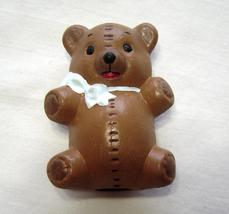 Miniature Teddy Bear Brown with White Bow Ceramic - $9.99