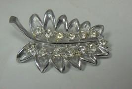 Vintage Silver Tone & Rhinestone Leaf Pin Brooch - $12.86