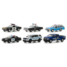 Hot Pursuit Series 30, Set of 6 Police Cars 1/64 Diecast Models by Green... - $54.68