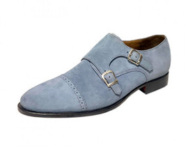 Handmade Men's Gray Suede Double Buckle Strap Dress/Formal Shoes image 1