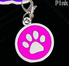 Dog Collar Jewelry Pink Pendants, Round silver-tone enamel dog pawprint ... - $4.90