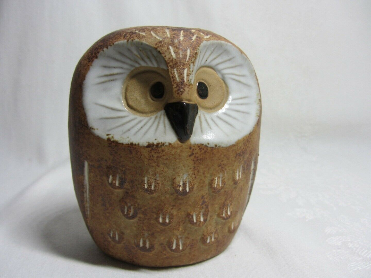 Pair Owl Candlestick Holder Figurines Vtg Brown Art Pottery Stamped Home Decor