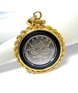 Canadian 1/10 Ounce .9995 Platinum Coin Pendant in 14K Gold Setting Mapl... - $318.25