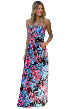 Black Neon Pink Tropical Strapless Maxi Dress with Pockets  - $26.90