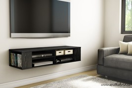 Black Wall Mounted Media Console TV Stand Entertainment Center Floating ... - $179.99