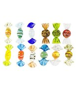 Set of 12 Three Inch Decorative Brightly Colored Glass Candy Figurines - $15.79
