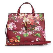 GUCCI Bamboo Shopper Blooms Leather Tote Bag Red - $3,449.99