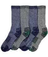 KirklandSignature Men's Outdoor Trail Sock Merino Wool Blend Assorted 4pc Medium