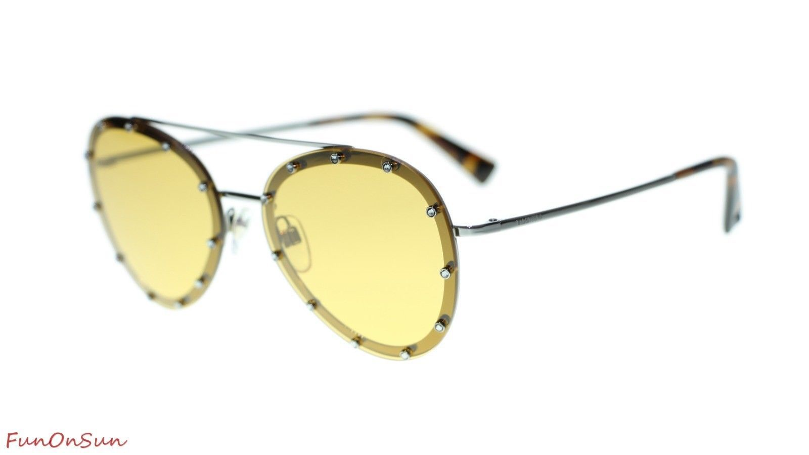 Valentino Sunglasses VA2013 300585 Gunmetal/Yellow Lens Italian Authentic 58mm