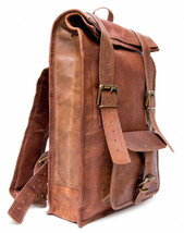 "New Man's 15"" Unisex Brown Rustic Soft Leather Travel Rucksack Backpack ... - $60.00"