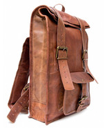 """New Man's 15"""" Unisex Brown Rustic Soft Leather Travel Rucksack Backpack ... - $60.00"""