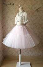 Women Girl Pink Tutu Skirt Princess Pink Midi Tulle Skirt 6 Layer Puffy Tutus image 2