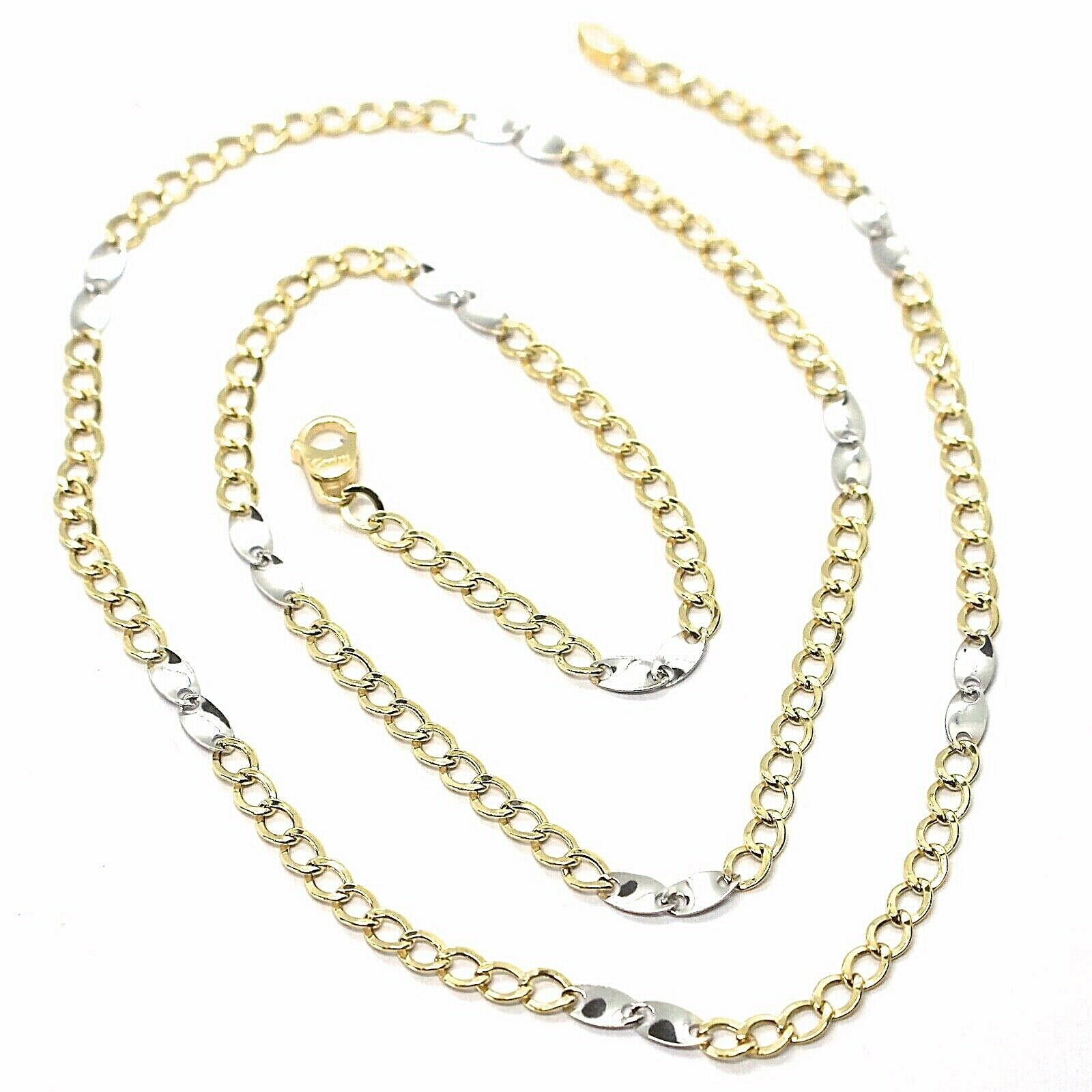 Primary image for Gold Chain Yellow White 750 18K, 50 cm, Groumette Flat and Ovals, 3 MM