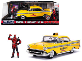 "1957 Chevrolet Bel Air Taxi Yellow with Deadpool Diecast Figure ""Marvel\"" Serie - $40.90"