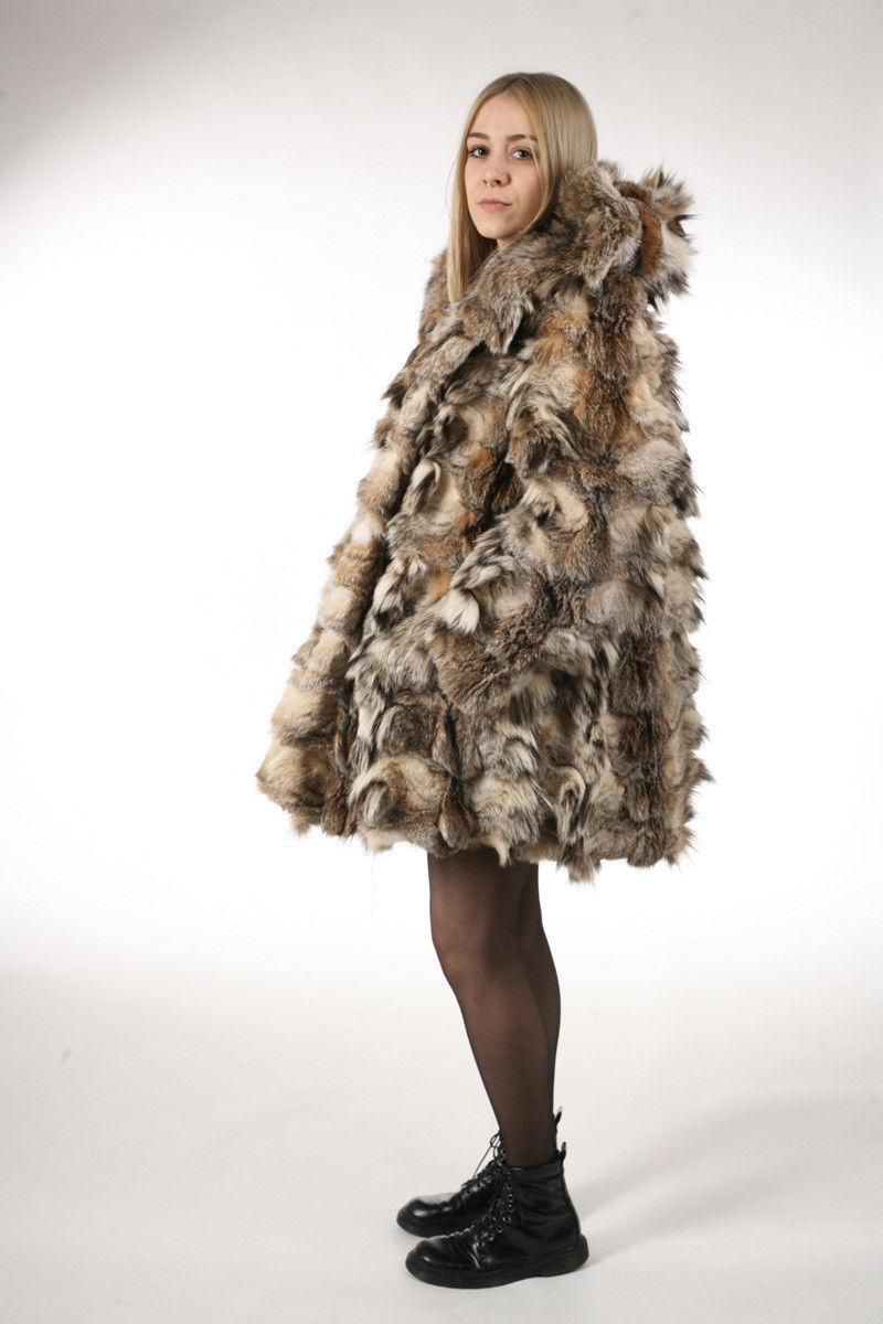 Lynx Fur Coat Hooded Sectional image 2