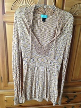 Women's Multicolored Tunic Knit Top Designed By Stacia size large - $24.99