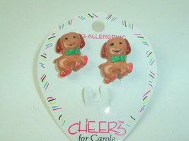 Puppy Dog Earrings 90s Cheers For Carole NOS VtG kitsch kawaii animal je... - $6.92