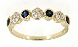 Blue Sapphire Gemstone 14K Yellow Gold 0.49CT Real Natural Round Diamond... - $1,316.70