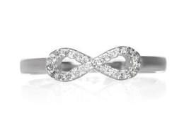 Infinity Symbol Cubic Zirconia Eternity Ring Sterling Silver 925 Size 6 ... - $21.00