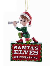 "KSA RESIN NAUGHTY ELF ""SANTA'S ELVES SEE EVERYTHING"" CHRISTMAS ORNAMENT - $11.88"