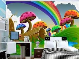 3D Bunte pilze, regenbogen Fototapeten Wandbild Fototapete BildTapete Familie DE - $52.21+