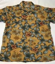 Men's Reyn Spooner Regency Cotton Lawn Dark Yellow Floral Hawaiian Shirt... - $39.19