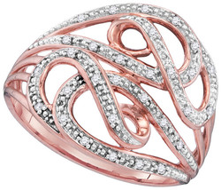 10kt Rose Gold Womens Round Diamond Cocktail Woven Band Ring 1/10 Cttw - $168.09
