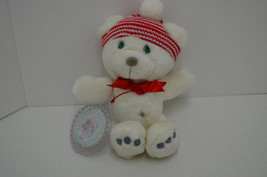 Vintage Precious Moments Bear Plush & Christmas Ornament White Red Hat 1... - $18.55