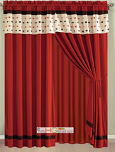 4-Pc Embroidery Rectangles Striped Curtain Set Red-Orange Brown Ivory Valance - $30.74