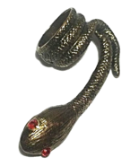 Brass snake ring with red rhinestone eyes--size 6 - $8.00
