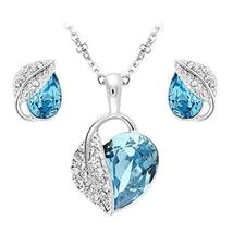 SHIP BY USPS: Jewelry Set Leaf Pendant Necklace+Stud Earrings Water Drop... - $49.95