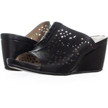 e42c8856b7 naturalizer Charlotte Wedge Sandals 081, Black Leather, 10.5 US - $34.55