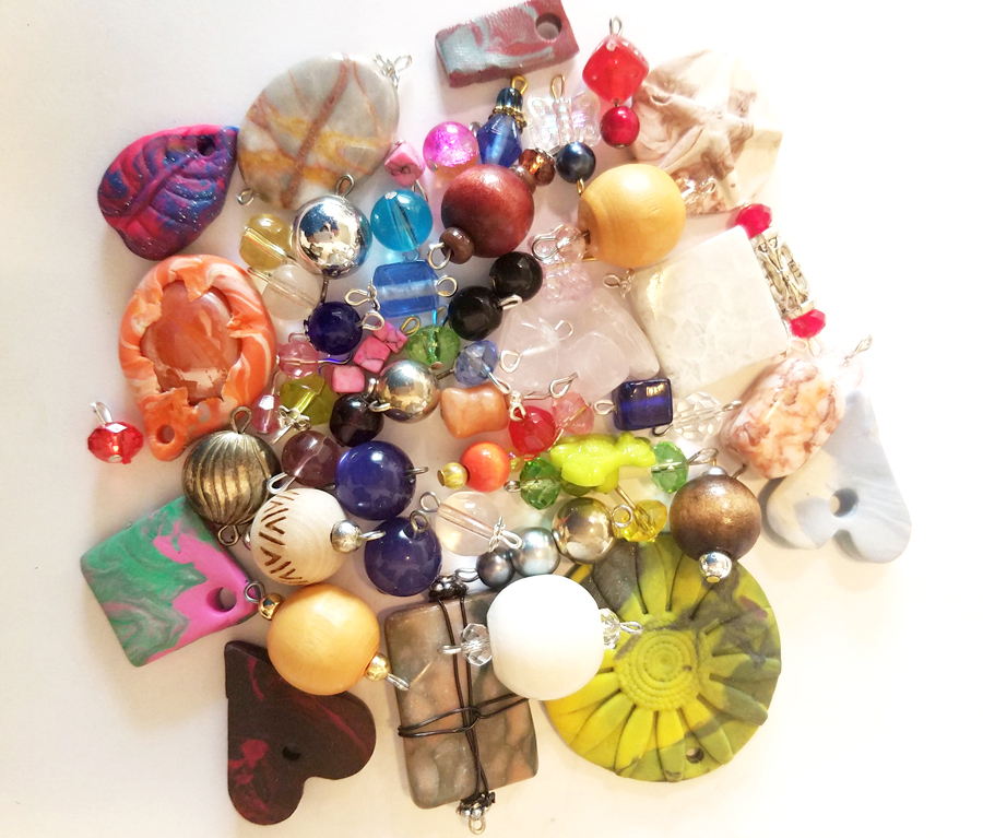 57 bead drops clay stone pendants charms mixed lot glass plastic beads jewelry