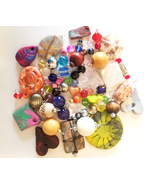 57 bead drops clay stone pendants charms mixed lot glass plastic beads j... - $7.99