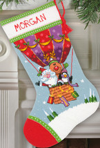 "Dimensions Stocking Needlepoint Kit 16"" Long-Santa's Balloon Ride Stitch... - $51.64"