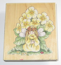 """Buttercup Flowers Fairy Rubber Stamp Ladybug Wings Leaves Garden Large 4""""  - $10.68"""
