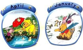 Winnie The Pooh Calendar Plates – January & April Lot of 2 Plates - $31.49