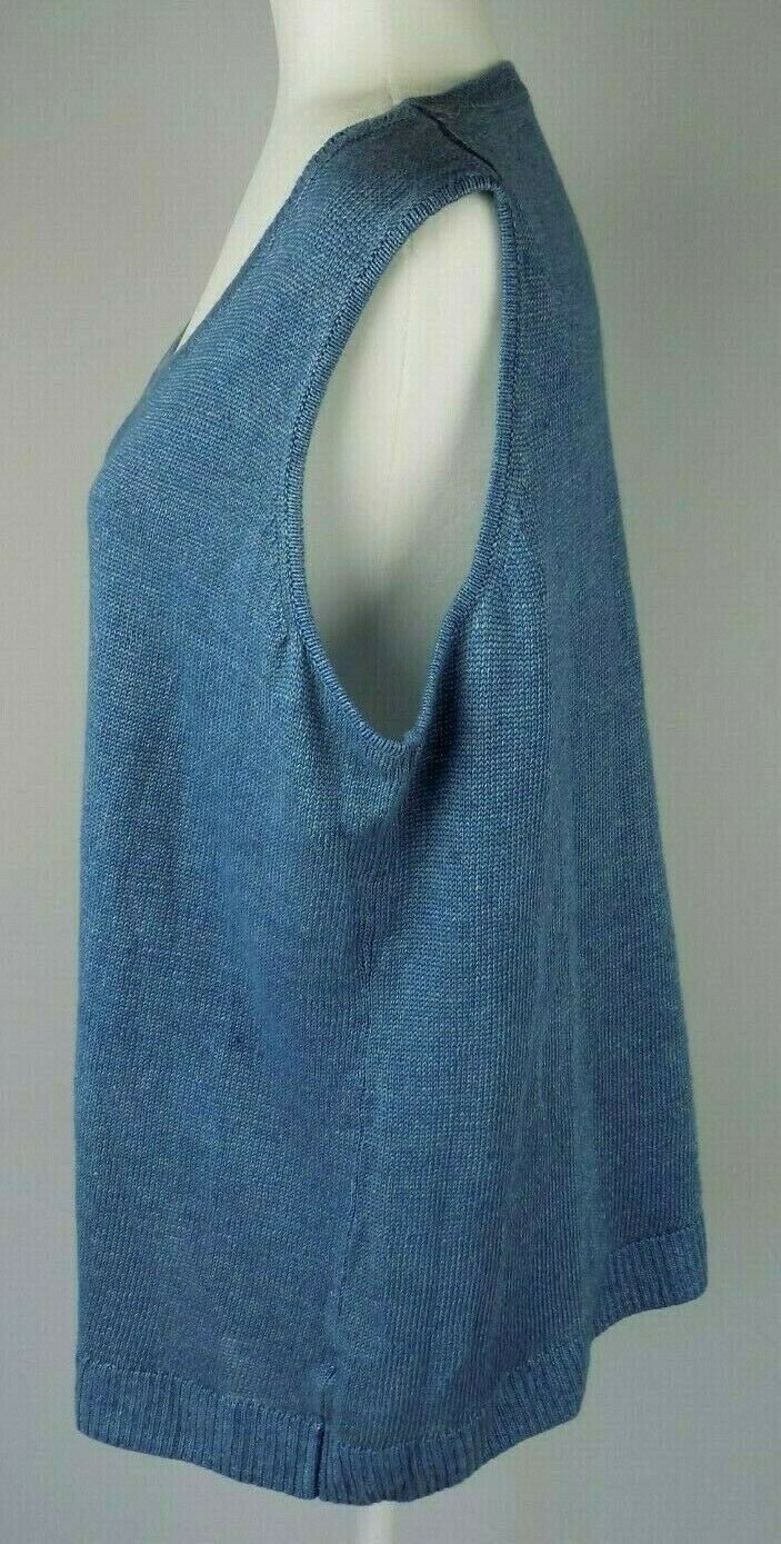 Talbots Linen Knit Top 2X Womens Blue Sleeveless Sweater Shell Tank Pullover