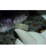 10K White Gold 8mm Wide Art Deco 1.00ct Diamond Ring Band 3 Row Size 7 H... - $544.50