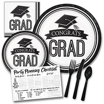 White and Black Congrats Grad Graduation Themed Party Supply Pack Bundle... - $34.30