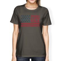 Trust Love USA American Flag Shirt Womens Dark Gray Round Neck Tee - $14.99+