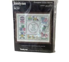 Vintage 1986 Janlynn Cross Stitch Kit 69-12 Nursery Time Birth Sampler S... - $11.29