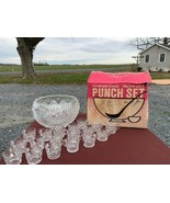 Vintage L.E. Smith Glass Co. Punch Bowl Set Pineapple Design with 18 Cup... - $79.48