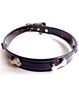 Black Waterproof Vegan Hydro Dog Collar with Bone Studs  25'' x 1'' Hotdogs - £13.90 GBP