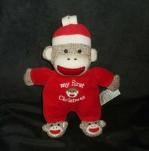 BABY STARTERS MY FIRST CHRISTMAS SOCK MONKEY RATTLE STUFFED ANIMAL PLUSH... - $23.38